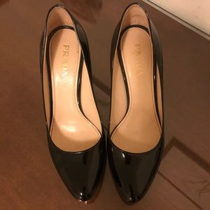 Black Prada Patent Pumps